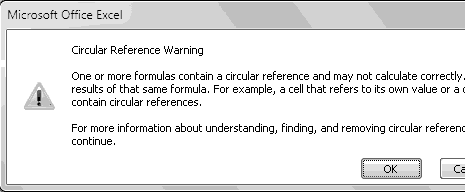 how to find circular reference in spreadsheet